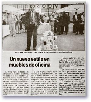 Article de premsa sobre l'empresa Kerm  i Ollé, els anys vuitanta.