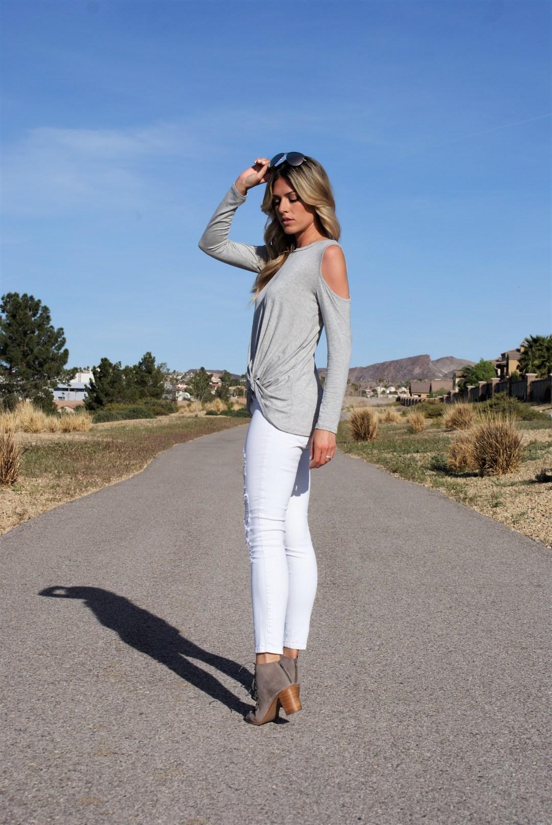 Mint Julep Boutique Cold Shoulder Top- Diaries of Danielle