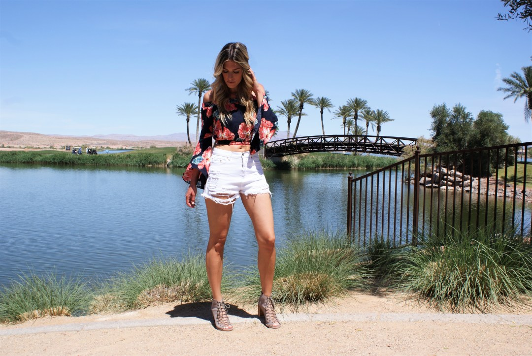 Floral Top + Distressed Cut Offs- Diariesofdanielle.com