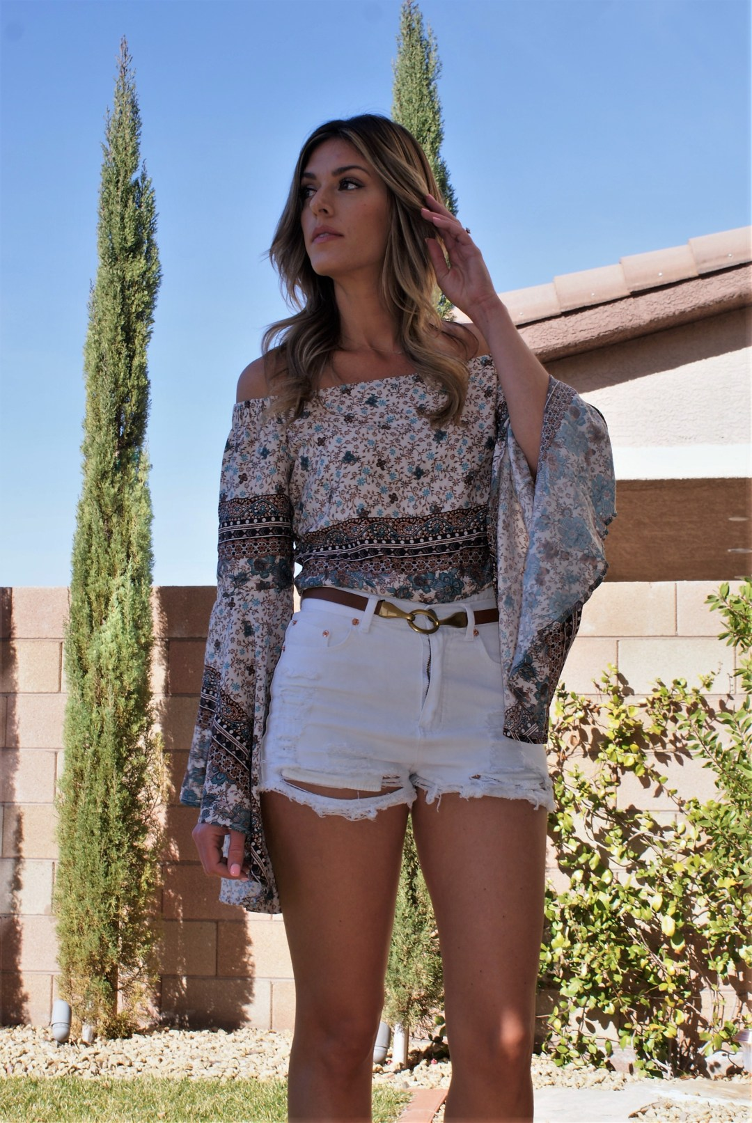 Paisley Off The Shoulder Bell Sleeve Top