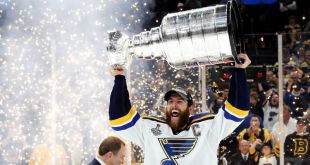St. Louis captain Alex Pietrangelo celebrates with the Stanley Cup after the Blues' 4-1 win over the Boston Bruins in Game 7 of the Stanley Cup Final on Wednesday. (Bruce Bennett / Getty Images)