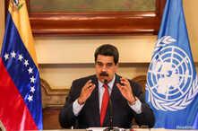 El presidente de Venezuela, Nicolás Maduro, durante una reunión con representantes de la ONU en Caracas, el sábado 12 de enero de 2019.