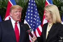 El presidente de EE.UU., Donald Trump, es entrevistado por la colaboradora de VOA Greta Van Susteren el martes, 12 de junio de 2018.