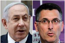 El primer ministro israelí, Benjamín Netanyahu, (izq) enfrenta un desafío a su liderazgo del partido Likud de Gideon Saar (der).