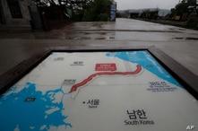 A map of two Koreas showing the Demilitarized Zone with North Korea's capital Pyongyang and South Korea's capital Seoul is seen…