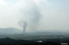 Smoke rises from Kaesong Industrial Complex in this picture taken from the south side in Paju, South Korea, June 16, 2020…