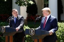 El presidente de EE.UU., Donald Trump, y el presidente de Polonia Andrzej Duda, en conferencia de prensa en el Jardín de las Rosas de la Casa Blanca, el miércoles 12 de junio de 2019.
