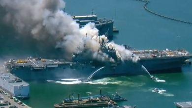 Explosión e incendio en Base Naval de San Diego deja once heridos 2