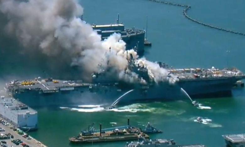 Explosión e incendio en Base Naval de San Diego deja once heridos 1