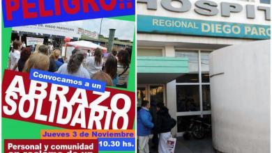 Photo of Isidro Casanova: Abrazo solidario al Hospital Paroissien