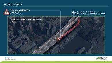 Photo of ALERTA: Por 5 días estará cerrada la bajada Huergo de la autopista Buenos Aires-La Plata