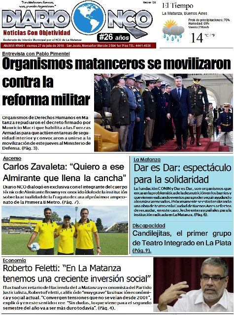 Portada impresa de Diario NCO del 27-07-2018 #BuenViernes