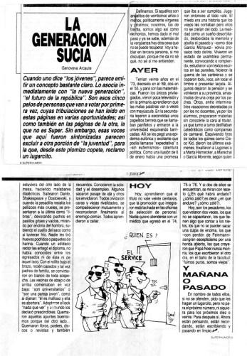 Genoveva Arcaute - Artículo para Revista Superhumor, en 1983