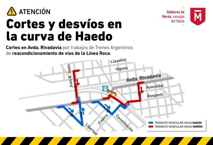 Por obras de Trenes Argentinos, el paso a nivel de Rivadavia del tren Roca permanecerá cerrado por una semana
