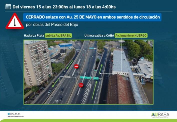 Por obras programadas, estará cerrado el enlace Autopista Buenos Aires La Plata- 25 de Mayo