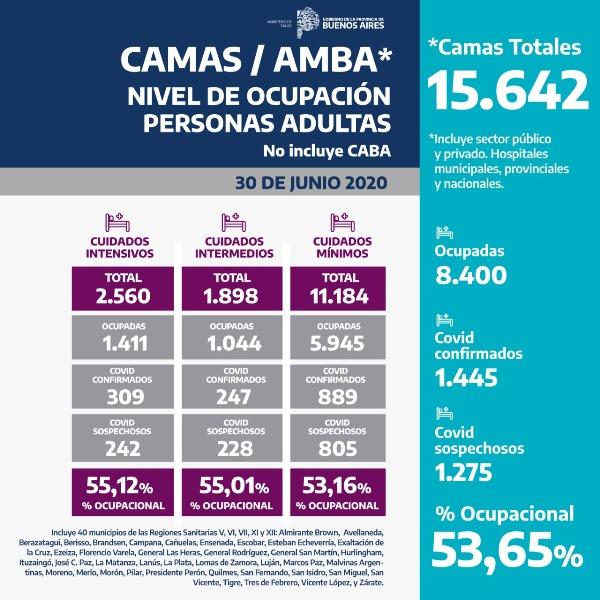 Información sobre ocupación de camas en la provincia de Buenos Aires