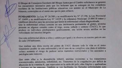 Photo of El Consejo Escolar de La Matanza trató el proyecto de Juntos por el Cambio para incluir un menú de Celiacos