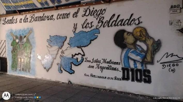 Hurlingham tiene un nuevo mural de Maradona y las Islas Malvinas