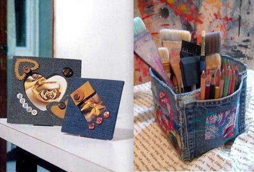 Ideas para reciclar vaqueros porta fotos y porta pinceles