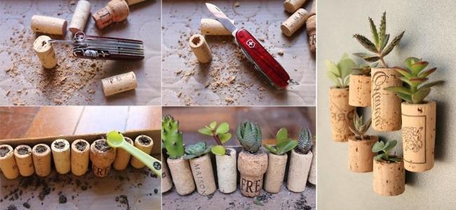 ideas para reciclar corchos macetas