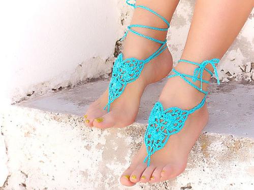 Modelos de sandalias descalzas con crochet cuero y - Como hacer color turquesa ...