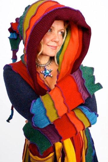 Abrigo de tejidos reciclados