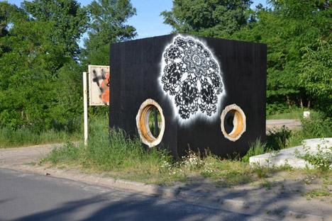 Grafitti tejido con pintura mural