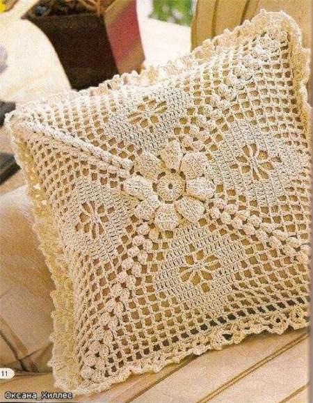 Ideas para decorar con crochet almohadón calado