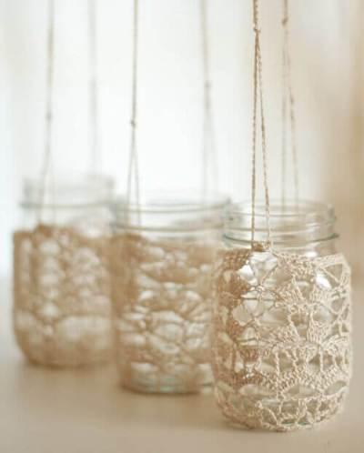 Ideas para decorar con crochet portavelas