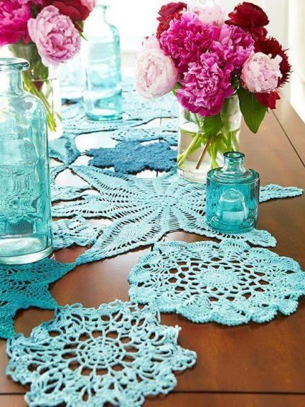 Ideas para decorar con crochet manteles ganchillo