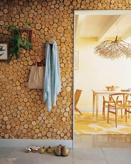 Revestimientos para paredes artesanales con rodajas de troncos