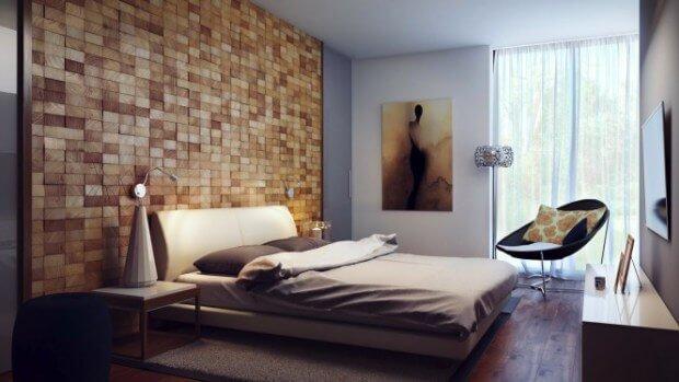 de pared con cuadrados de madera