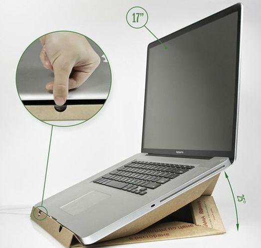 Ideas para reciclar cartón, modelo de soporte para portátil en cartón reciclado