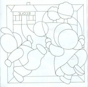 Plantilla de patchwork niños jugando