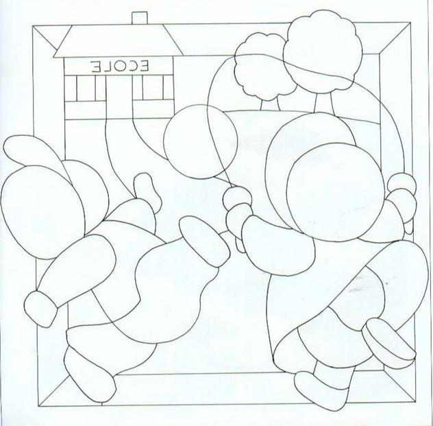 Patchwork sin costuras plantilla niños jugando