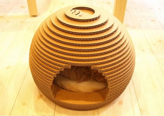 Ideas para reciclar cartón, casa para gatos de cartón reciclado