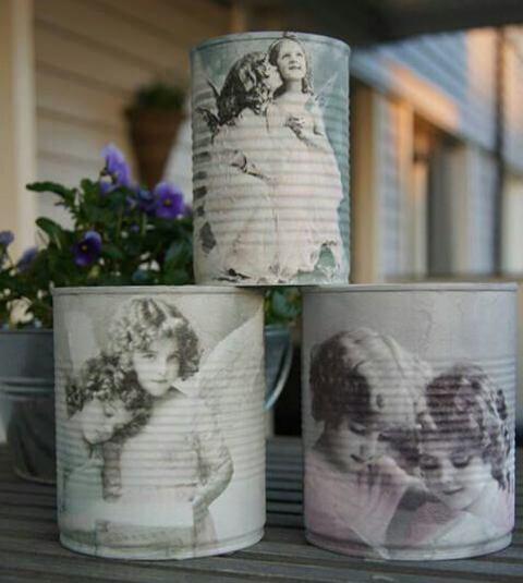 Ideas para reciclar latas, latas decoradas con la técnica de decoupage, motivo vintage de ángeles