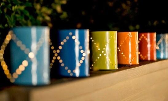 Ideas para reciclar latas porta velas hechos con latas agujereadas y pintadas
