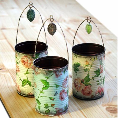 Ideas para reciclar latas, latas decoradas con decoupage motivo de rosas vintage