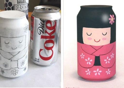 Ideas para reciclar latas, idea para hacer una dama japonesa con una lata pintada