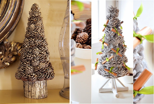 Modelos de arboles de navidad naturales con piñas