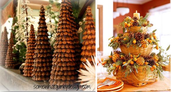 ideas de navidad para decorar con piñas