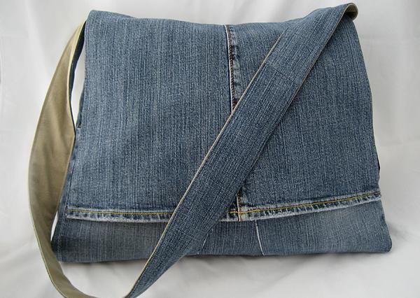 Jean reciclado bolso colgante