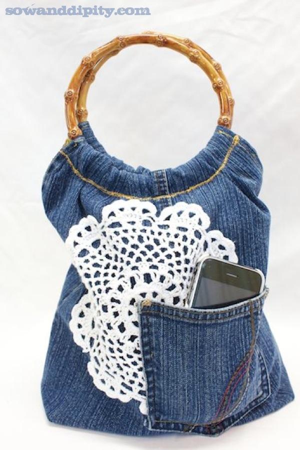Jean reciclado bolso de mano