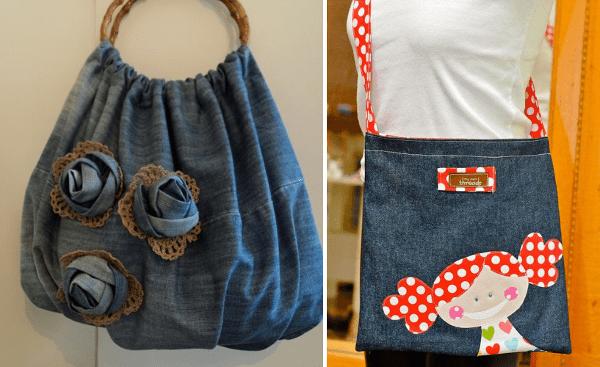 Bolsos de jean reciclado y tela