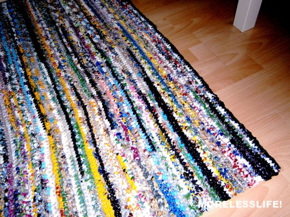 Ideas para reciclar bolsas alfombra rectangular
