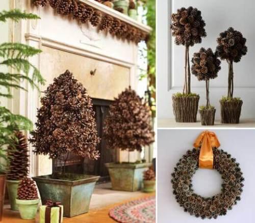 Navidad natural ideas para decorar con materiales frescos - Decorar pinas naturales ...