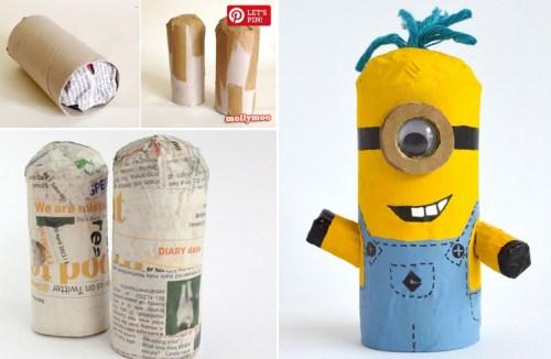 juguetes con materiales reciclados cómo hacer un minion con un tubo de papel