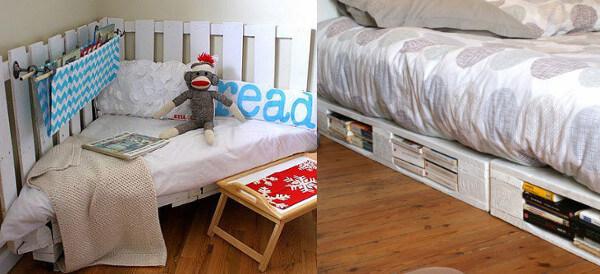muebles con palets cama esquinera y cama simple con espacio para libros
