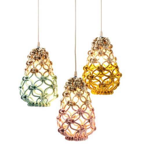 Ideas para decorar con macramé diseños de lámparas con forma de farol